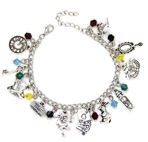 Charm Armband - Schmuck mit Geschenk-Box perfekt für jeden Alice im Wunderland Fan Mad Hatter Tee Partys ()