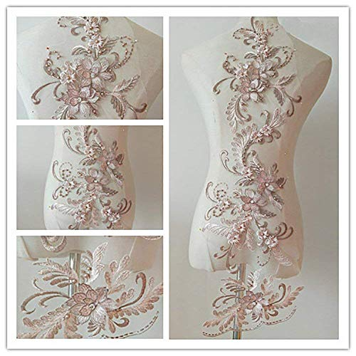 bridallaceuk 3D-Spitzenapplikation, Blumen-Aufnäher, ideal zum Basteln, Nähen, Kostüme, Abenden, Braut-Tops, 20 cm x 72 cm, A1 rosa - Dusty pink