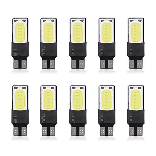 Qiilu QL04390 10 pz T10 W5W 6SMD Auto LED Lampadina Canbus Errore Free COB Segnale Laterale Piastra Lighgts(White)