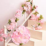 MZMing 2 x 235cm Artificial Cherry Blossoms Hanging Rattan Garland Wreath Fresh Lovely of Fake Flower Plant Flower Vine Leaf for Home Party Garden Fence Christmas Wedding Decoration Pink