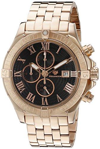 Wellington WN114-328 - Reloj cronógrafo de cuarzo para hombre con correa de acero inoxidable, color rosa