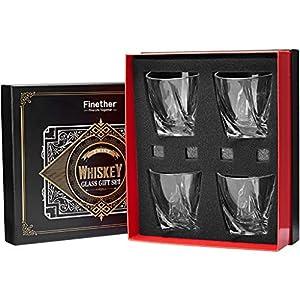Finether Whiskeygläser Whiskybecher Whiskyglas Whisky Gläser einzigartiges Design|4er Whisky-Set geschenk 340ml mit 4 Eiswürfel-Steinen aus Granit Kühlsteine für Bourbon Scotch Vodka Wodka Likör Drink