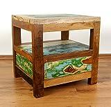 Asia Wohnstudio Teakholz Nachtschrank aus Java | Recyceltes Buntes Bootsholz | Asiatische Möbel | Designer Möbel aus Bootsholz | Massivholzkommode der Marke Nachttisch | Beistelltisch