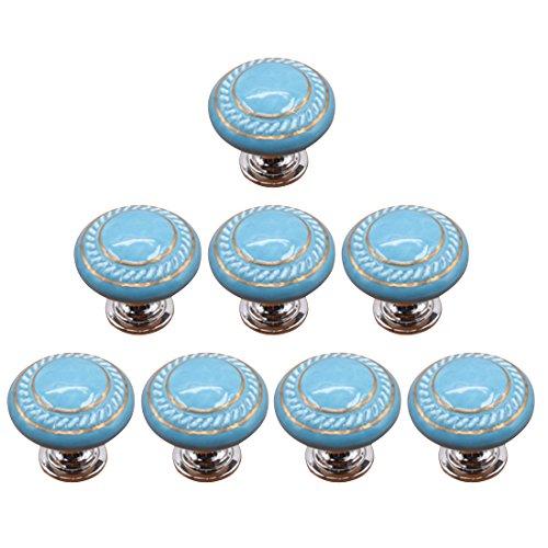 YAKOK Knöpfe Keramik Möbel, 8er Knauf Schrank Schubladenknöpfe Kinderzimmer Schrankknöpfe Kabinettknöpfe Kinder Möbelknöpfe Pull Knob für Möbel (Blau) (Kommode Knöpfe Für Baby)