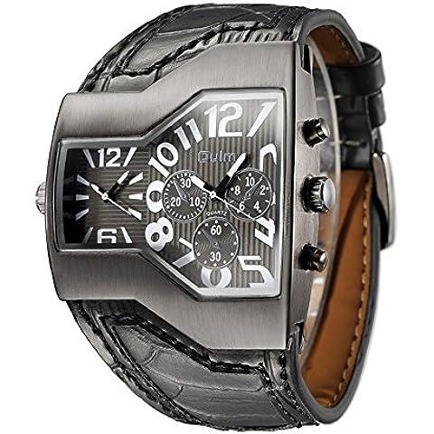 GL Orologio sportivo militare Oversize Multi TimeZones 2 quadranti pelle analogico da uomo, Nero
