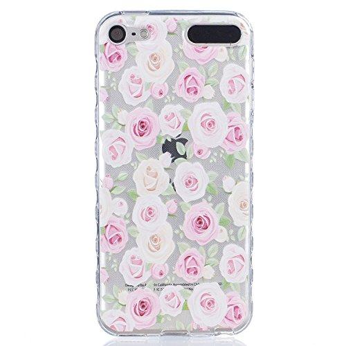 Voguecase® Per Apple iPhone 7 4.7, Custodia Silicone Morbido Flessibile TPU Custodia Case Cover Protettivo Skin Caso (Daisy 05) Con Stilo Penna Anti-skid-Pink Rose
