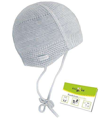 Maximo Babybindemütze Erstlingsmütze Neugeborenenmütze Säuglingsmütze Stretchbündchen Flachnähte (MX-45572-287100-W16-BU0-82-39) in Hellgrau, Größe 39 inkl. EveryKid-Fashionguide
