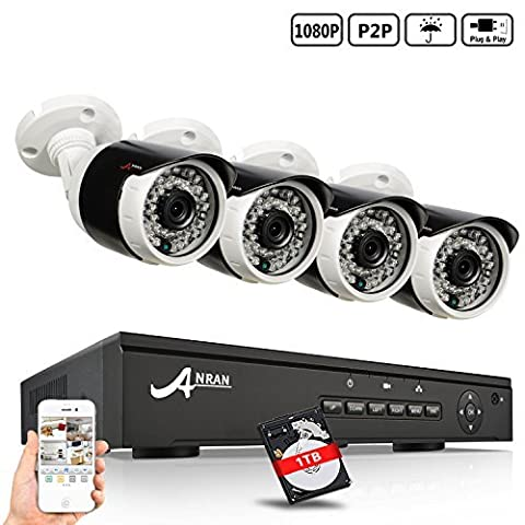 ANRAN Security 8 canaux système POE NVR avec 4pcs caméras de surveillance en plein air 1080P CCTV, Power over Ethernet, Free Romote View, disque dur préinstallé de 1 To