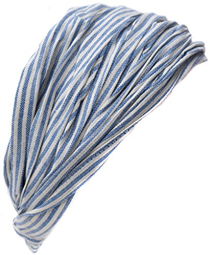 mwolle Elastische Hippie Bandana Stirnband Light Blue Pin Striped (Light Blue Bandana)