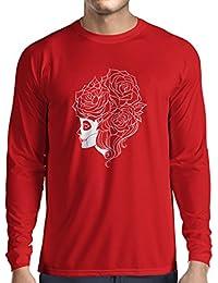 N4324L Camiseta de manga larga Flor del craneo de la moda