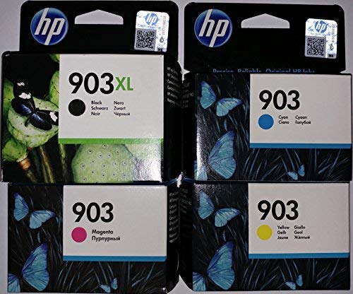 Cartuchos de tinta original para impresoras HP Officejet 6950, HP Officejet Pro 6960, HP Officejet Pro 6970. 1 unidad de color negro HP 903XL, y 1 unidad HP 903 de cada color cian, magenta y amarillo.