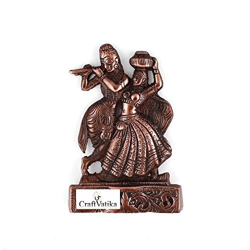 Collectible India Lord Radha Krishna Flute Playing Metal Wall Hanging Sculpture  available at amazon for Rs.339