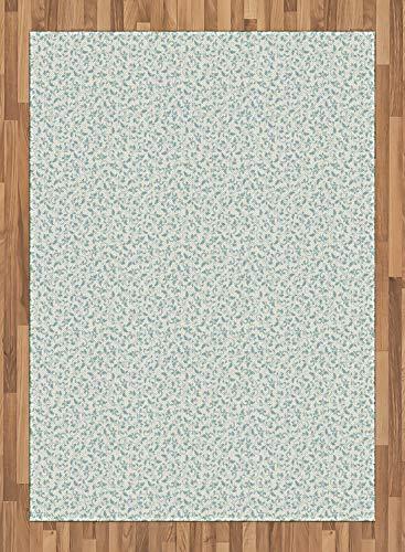 ABAKUHAUS Elfenbein und Blau Teppich, Viktorianische Blume, Deko-Teppich Digitaldruck, Färben mit langfristigen Halt, 80 x 150 cm, Türkis und Elfenbein - Elfenbein Blumen-bereich Teppich