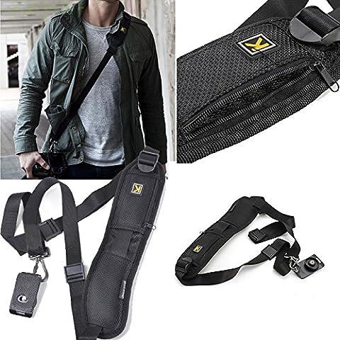 EzoneukStore–Alta calidad rápida solo hombro Cinturón Negro Correa para cámara réflex DSLR Canon Nikon Sony Pentax Olympus Samsung cámara
