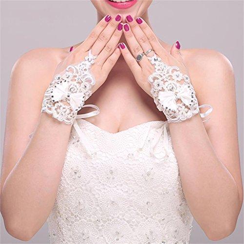 DELLT- Bridal Lace Handgelenk Ribbon Korean Rendezvous Hochzeit Zubehör Kurzes Set Hochzeit Zubehör Weiße Handschuhe Lace Ribbon Hochzeit