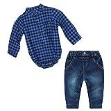 Conjunto Bebé 2 Piezas Camisa Cuadros +Jeans (95cm, Azul)