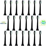 Sohv Standard Replacement Brush Heads, Compatible with Philips Sonicare Diamond Clean HX6064/33, fully compatible with the following Electric Toothbrush by Philips Models: DiamondClean, FlexCare, Series 2, FlexCare Platinum, FlexCare (+), HealthyWhite, EasyClean and PowerUp, 4 Pieces (1 Pack – Black [Pack of 4/8/12/20 Available]