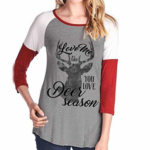 camicetta donna Natale, FEITONG elk stampato splicing maniche t-shirt (Rosso, (Arrampicata Con Cappuccio Pullover)
