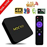 2017Model SCS etc streaming media player, MX10Android 7.1TV box 4GB + 32GB, supporto Smart TV box 2.4G WiFi Connected 64bit Quad-Core 3D 4K HDR video playing Smart TV box