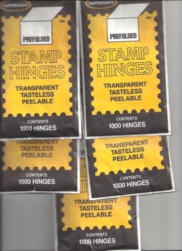 Supersafe Stamp Hinges FIVE Pack -- Total of 5000 Hinges by SuperSafe