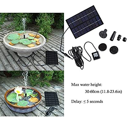 SIEGES 1.8W Solar Power Panel Submersible Water Pump Kits for Lawn Garden Pond Fountain Pool Water Cycle , Pond Fountain… 5