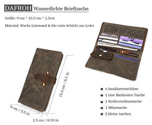 Herren Wasserdichte Brieftasche, DAFROH Geldboerse Männer Portemonnaie aus Leder & wasserdichte Batik Leinwand (Marine) Armee Grün