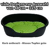 adena Hundekorb 81 x 54 cm anthrazit + Kissen Tupfen grün