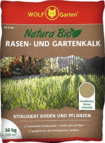 WOLF-Garten - Saatgut, Natura Bio-Rasen und Gartenkalk RG-K 200 für 200 m², weiß, 40 x 30 x 6 cm,...