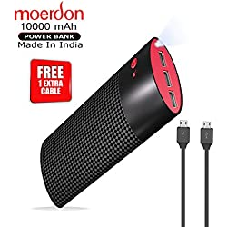 MOERDON 10000mAH Best Power Bank Tri USB Charging Port, Free 1 Extra Cable (Black/Red)