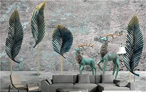 Schmiedeeisen Blatt Wand (Wandbild Hintergrundbild Benutzerdefinierte Fototapete Wandbild Retro Alte 3D Stereo Elch Blätter Schmiedeeisen Tv Hintergrund Wand @ 430 * 300Cm)
