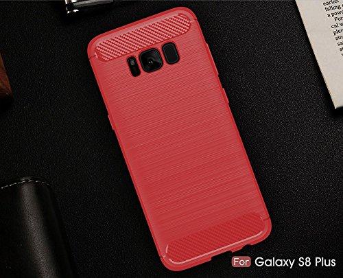 EKINHUI Case Cover Dünne und Leightweight gebürstete Carbon Fibre robuste Rüstung Rückseitige Abdeckung Stoßstange Fall Stoßfeste Drop Resistance Shell Abdeckung für Samsung Galaxy S8 Plus ( Color : B Red