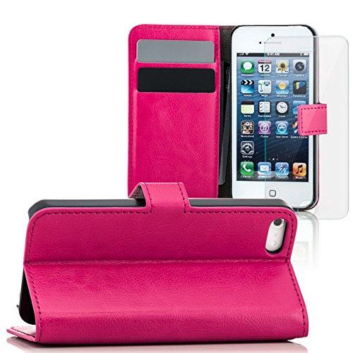 Saxonia® iPhone SE 5s 5 Tasche + Panzerglas Hülle Flip Case Schutzhülle Handytasche mit Kartenfach Braun Pink