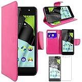ebestStar - Wiko Selfy 4G Hülle Kunstleder Wallet Case Handyhülle [PU Leder], Kartenfächern, Standfunktion, Pink + Panzerglas Schutzfolie [: 141 x 68.4 x 7.7mm, 4.8'']