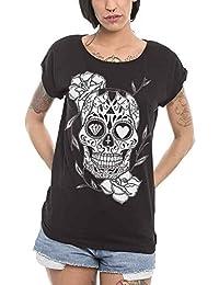 Camiseta de Mujer Negra Mexican Skull
