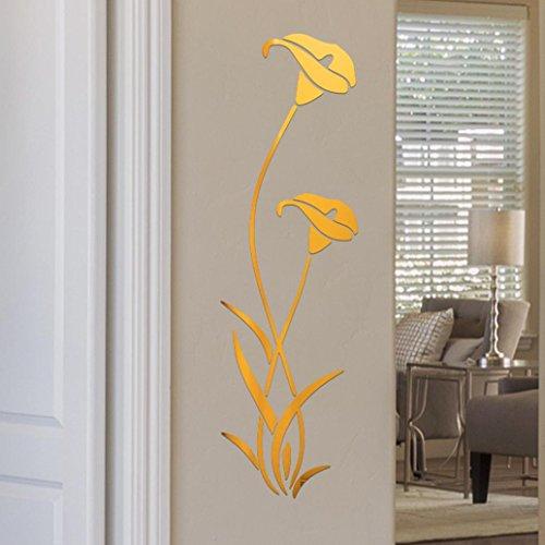 Manadlian Wandsticker ❤️3D DIY Blumen Form Acryl Wandaufkleber Moderne Aufkleber Dekoration Wandaufkleber, entfernbar, Wand-Aufkleber für das Kinderzimmer (Gold)