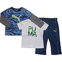 Puma Baby Jogginganzug Freizeit Outfit T-Shirt langarm T-Shirt + Hose Blau Weiß (80)