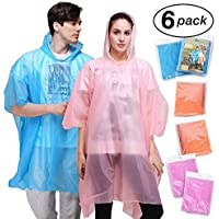 Emergency Rain Poncho Adult with Drawstring Hood - 6 Pack of Color Assorted Waterproof Thinker Ponchos - Lightweight yet Strong, Reusable or Disposable - for Concerts, Amusement Parks, Camping.