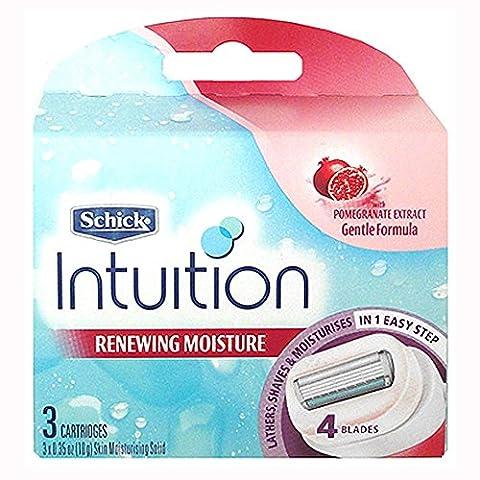 Schick Intuition Renewing Moisture Womens Razor Refill Cartridges, 3 count