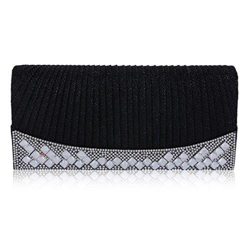 Donna Elegant Damara foreverde pieghe coipo brilla in borsa Nero (nero)