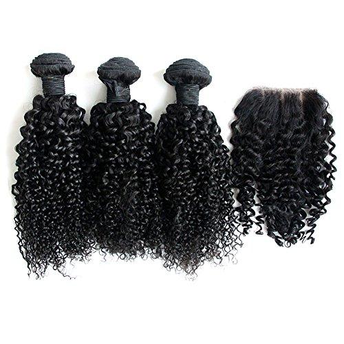 6A Bresil Faisceaux Tresses Marche Vierge 3 cheveux Trame Kinky Curly Cheveux Hair Human Extension 1 Paquet Dentelle Fermeture Frontale Partie Lace Closure 12 14 16 ×10