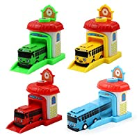 Yeldou Set of 4 Mini Friction Buses,Bus Depot Center Playset,Pull & Push Back Cars - Pull Back Vehicles Toy Cars for Toddlers Kids Boys Girls Gift