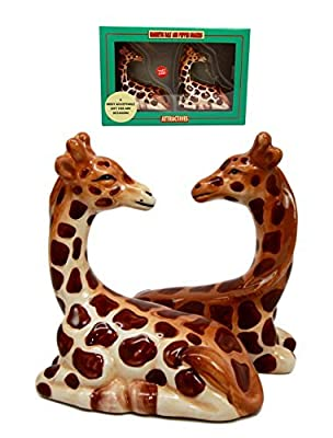 Zoo Safari Tall Giraffe Animal Lovers Ceramic Magnetic Salt Pepper Shakers Set Figurines by Atlantic Collectibles
