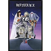 Beetlejuice-Movie One Sheet Poster on a Black Plaque 24 x 36