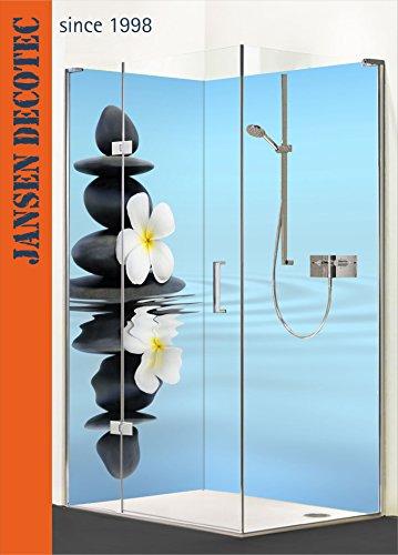 Preisvergleich Produktbild Eck - Duschrückwand, 2 Segmente je 90x200cm, Motiv: ZEN_Steine_Blüte - KOSTENLOSER Zuschnitt auf Ihr Wunschformat !
