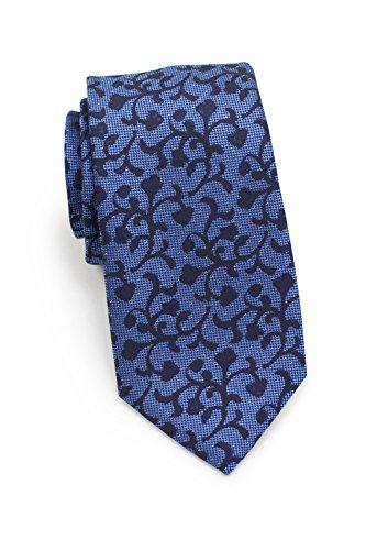 PUCCINI Herren-Krawatte schmal, Rankenmuster, verschiedene Farben, Mikrofaser, 7 cm Skinny Tie, Handarbeit (Blau / Dunkelblau) (Tie Skinny Blaue)