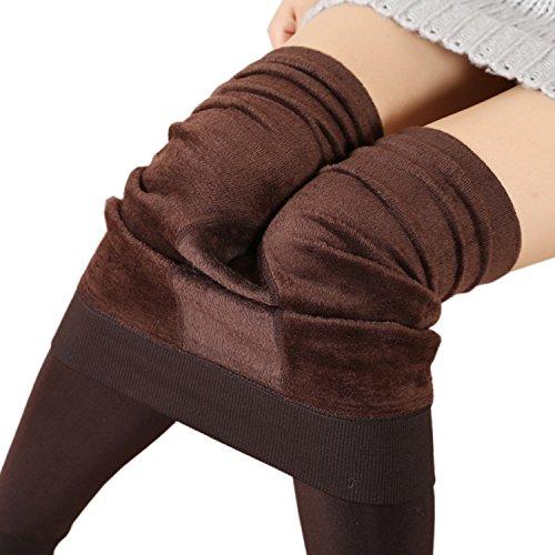 KaKing Damen Strumpfhose Winter Dicke Warme Leggings (eine größe, Brown)