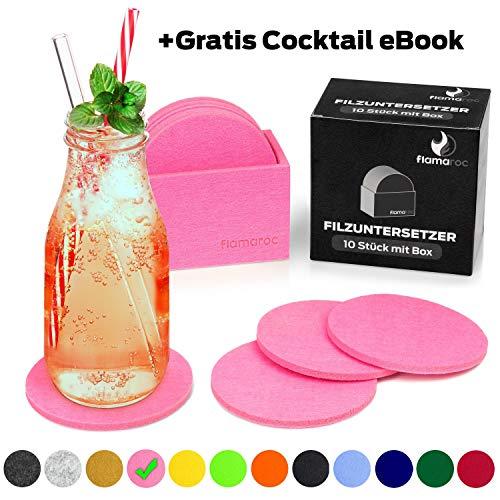 flamaroc® Filzuntersetzer Rund - 10er Untersetzer Filz Premium-Set mit Box Rosa, Stylishe Glasuntersetzer in Pink für Glas, Getränke, Gläser (10 cm rund, Rose)