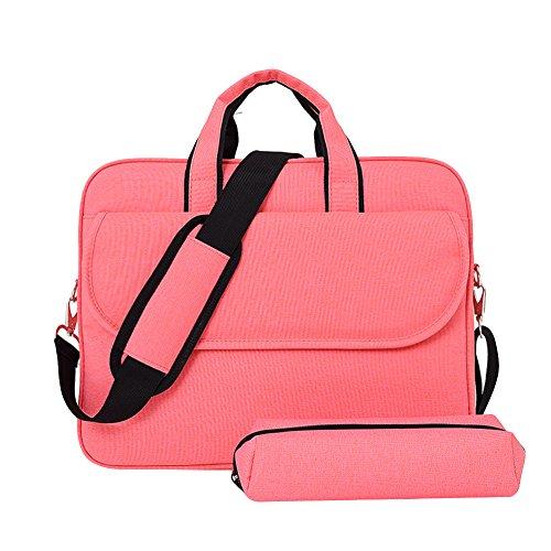 LOSORN ZPY Schulter Tasche Laptoptasche Aktentaschen Handtasche Tragetasche Notebooktasche Umhängetasche Laptop sleeve Laptop hülle mit Schultergurt Griff Rosa