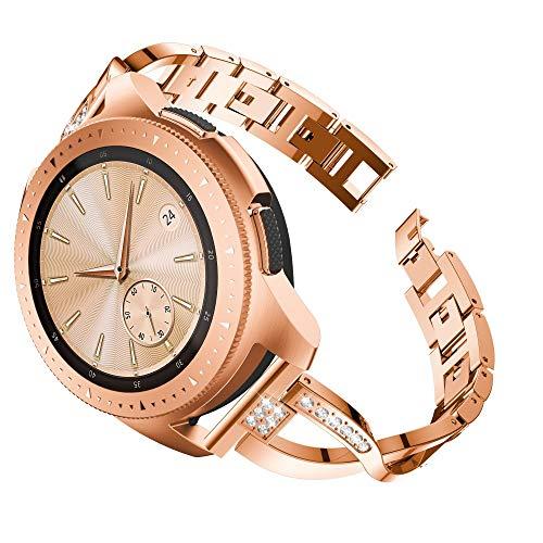 Janly Bande de Poignet en Cristal de Luxe en métal de Remplacement pour Montre Samsung Galaxy Watch (42mm) (Or Rose)
