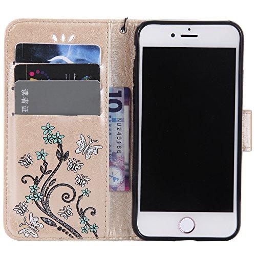 iPhone 7 Smartphone Cassa, CLTPY Puro Vintage Belle Portatile Back Cover in Soft Morbida Corda, Completa Semplice Kickstand e Cinghia Strap Resistenza Disegno Protettivo Case per Apple iPhone 7 4.7(N Oro